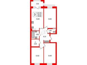 Квартира в ЖК ID Park Pobedy, 3 комнатная, 76.3 м², 3 этаж