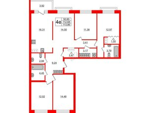 Квартира в ЖК ID Park Pobedy, 4 комнатная, 113.86 м², 9 этаж