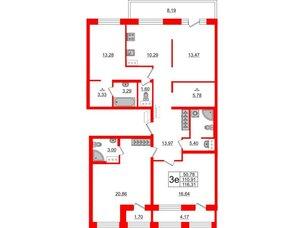 Квартира в ЖК ID Park Pobedy, 3 комнатная, 116.31 м², 9 этаж