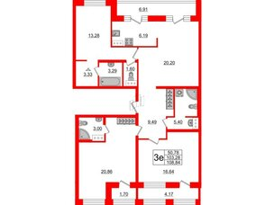 Квартира в ЖК ID Park Pobedy, 3 комнатная, 108.84 м², 11 этаж