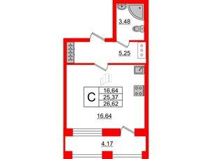 Квартира в ЖК ID Park Pobedy, студия, 26.62 м², 3 этаж