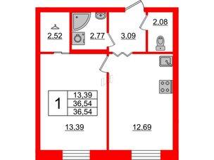 Квартира в ЖК ID Park Pobedy, 1 комнатная, 32.91 м², 3 этаж