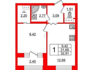 Квартира в ЖК ID Park Pobedy, 1 комнатная, 32.91 м², 9 этаж