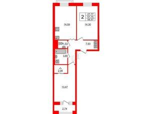 Квартира в ЖК ID Park Pobedy, 2 комнатная, 58.57 м², 4 этаж