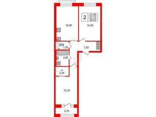 Квартира в ЖК ID Park Pobedy, 2 комнатная, 58.55 м², 11 этаж