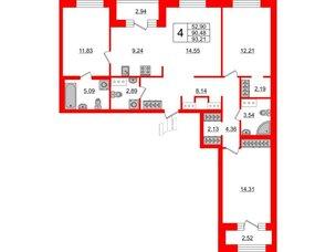 Квартира в ЖК ID Park Pobedy, 4 комнатная, 93.21 м², 11 этаж