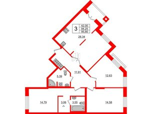 Квартира в ЖК ID Park Pobedy, 3 комнатная, 95.8 м², 2 этаж