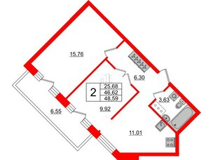 Квартира в ЖК ID Park Pobedy, 2 комнатная, 48.59 м², 11 этаж