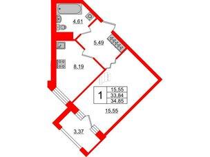 Квартира в ЖК ID Park Pobedy, 1 комнатная, 34.85 м², 6 этаж