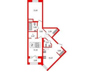 Квартира в ЖК ID Park Pobedy, 2 комнатная, 56.83 м², 9 этаж