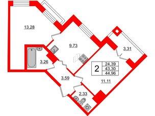 Квартира в ЖК ID Park Pobedy, 2 комнатная, 44.96 м², 3 этаж