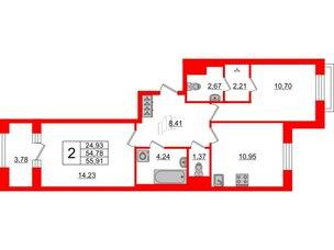 Квартира в ЖК ID Park Pobedy, 2 комнатная, 55.91 м², 7 этаж