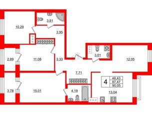 Квартира в ЖК ID Park Pobedy, 3 комнатная, 93.8 м², 9 этаж