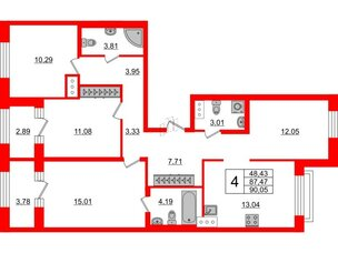 Квартира в ЖК ID Park Pobedy, 4 комнатная, 90.05 м², 10 этаж