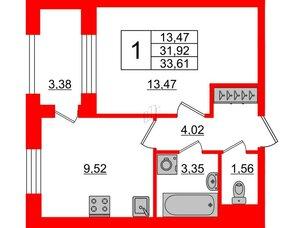 Квартира в ЖК ID Park Pobedy, 1 комнатная, 33.61 м², 4 этаж