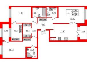 Квартира в ЖК ID Park Pobedy, 3 комнатная, 90.34 м², 11 этаж