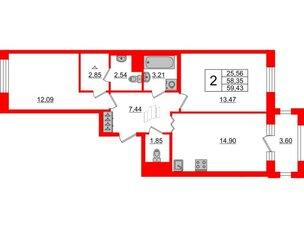 Квартира в ЖК ID Park Pobedy, 2 комнатная, 59.43 м², 3 этаж