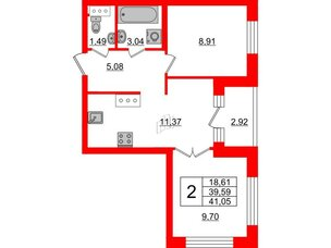 Квартира в ЖК ID Park Pobedy, 2 комнатная, 41.05 м², 11 этаж