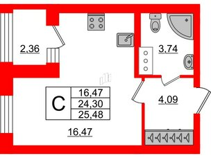 Квартира в ЖК ID Park Pobedy, студия, 25.48 м², 11 этаж
