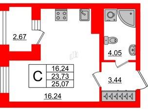 Квартира в ЖК ID Park Pobedy, студия, 25.07 м², 6 этаж