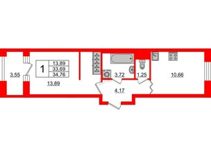 Квартира в ЖК ID Park Pobedy, 1 комнатная, 34.76 м², 3 этаж