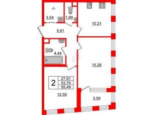 Квартира в ЖК Golden City, 2 комнатная, 55.49 м², 2 этаж