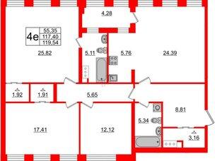 Квартира в ЖК Golden City, 3 комнатная, 119.54 м², 3 этаж