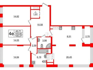 Квартира в ЖК Golden City, 3 комнатная, 105.27 м², 16 этаж