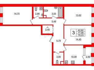Квартира в ЖК Golden City, 3 комнатная, 79.23 м², 2 этаж