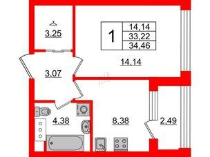 Квартира в ЖК Golden City, 1 комнатная, 34.46 м², 10 этаж