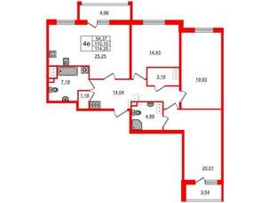Квартира в ЖК «Чистое небо», 3 комнатная, 110.1 м², 14 этаж