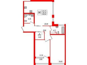 Квартира в ЖК Golden City, 2 комнатная, 80.04 м², 3 этаж