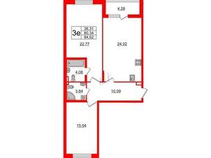 Квартира в ЖК «Черная Речка», 2 комнатная, 80.34 м², 2 этаж