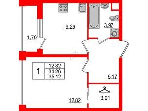 Квартира в ЖК Golden City, 1 комнатная, 35.12 м², 2 этаж