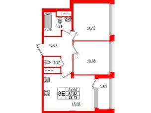 Квартира в ЖК Golden City, 2 комнатная, 52.13 м², 4 этаж