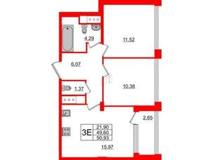 Квартира в ЖК Golden City, 2 комнатная, 50.93 м², 9 этаж