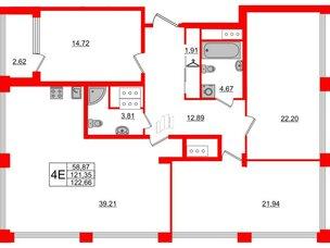 Квартира в ЖК Golden City, 3 комнатная, 122.66 м², 17 этаж