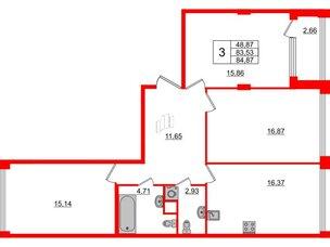 Квартира в ЖК Golden City, 3 комнатная, 84.87 м², 2 этаж
