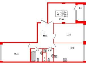 Квартира в ЖК Golden City, 3 комнатная, 84.3 м², 4 этаж