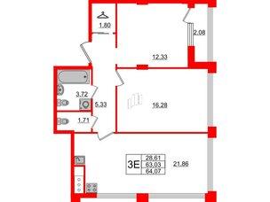 Квартира в ЖК Golden City, 2 комнатная, 64.07 м², 10 этаж
