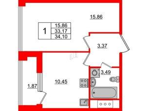 Квартира в ЖК Golden City, 1 комнатная, 34.1 м², 8 этаж