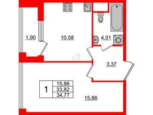 Квартира в ЖК Golden City, 1 комнатная, 34.77 м², 2 этаж