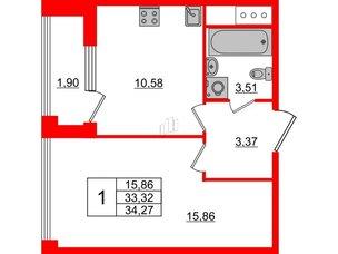 Квартира в ЖК Golden City, 1 комнатная, 34.27 м², 9 этаж