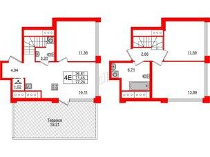 Квартира в ЖК Golden City, 3 комнатная, 77.24 м², 19 этаж