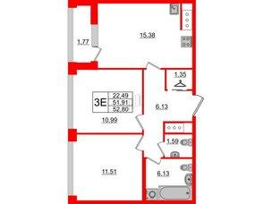 Квартира в ЖК Golden City, 2 комнатная, 52.8 м², 4 этаж