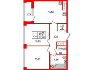 Квартира в ЖК Golden City, 2 комнатная, 52.8 м², 8 этаж