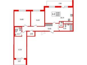 Квартира в ЖК «Чистое небо», 3 комнатная, 93.83 м², 15 этаж