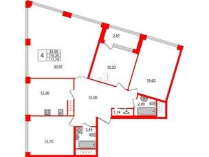 Квартира в ЖК Golden City, 4 комнатная, 111.79 м², 3 этаж