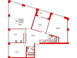 Квартира в ЖК Golden City, 4 комнатная, 119.17 м², 16 этаж