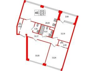 Квартира в ЖК Golden City, 3 комнатная, 82.74 м², 2 этаж